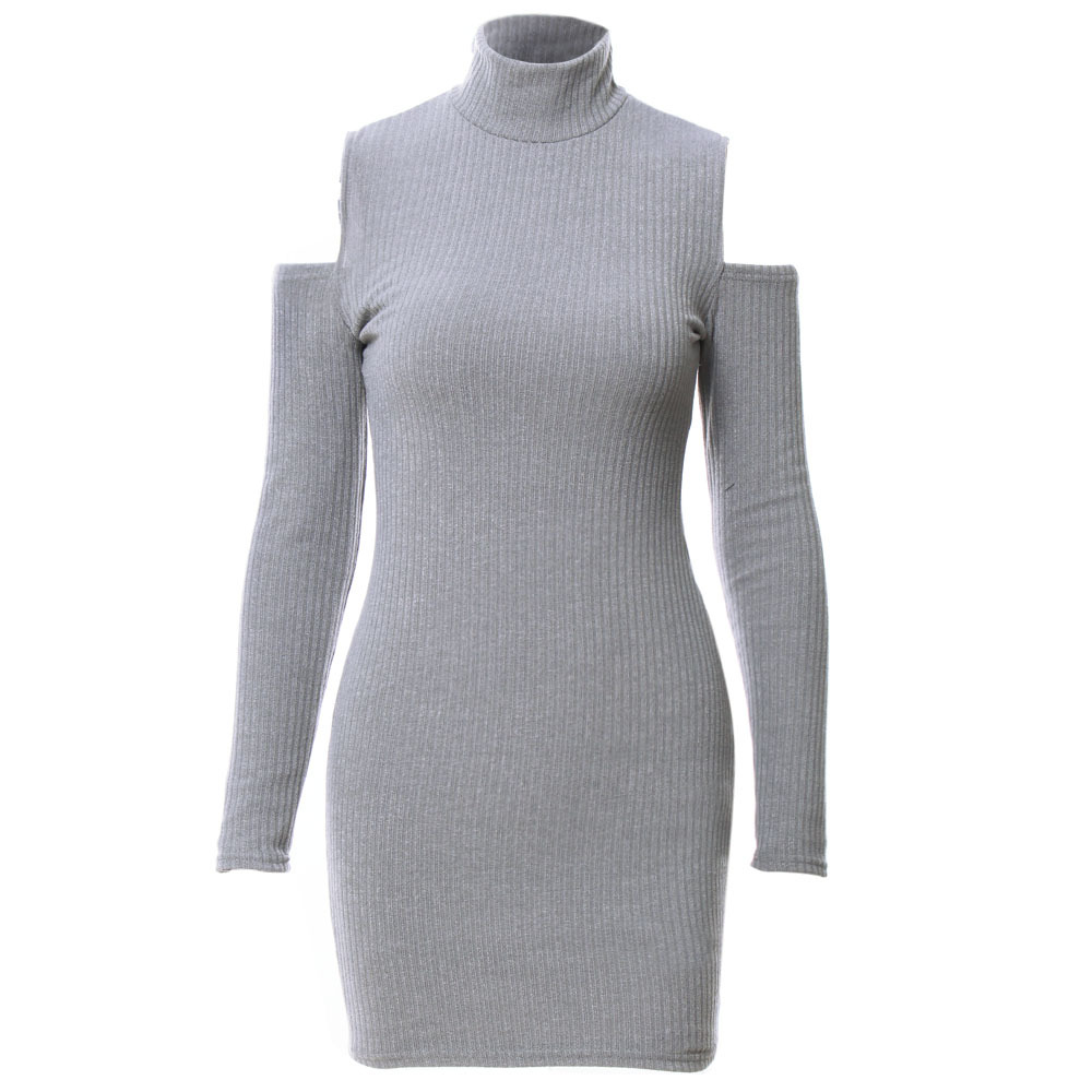 European style women pullovers knitted dress fashion sexy long sleeve round collar off the shoulder package hip slim dress B121 cute off the shoulder lemon dress for women