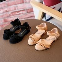 Lovely Princess Sandals Lace Ruffle Fashion Children Shoes Easy Slip In Flat Marry Jane Wedding Shoe