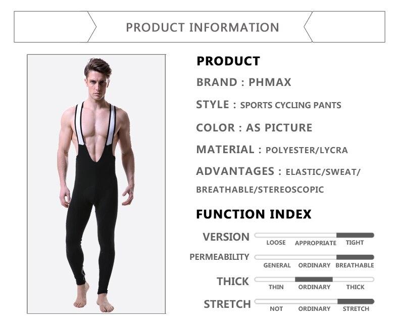 Phmax ciclismo bib calças longas calças da