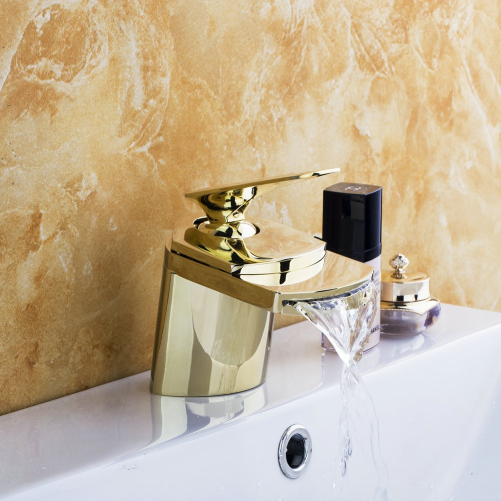 Best Waterfall Spout Basin Torneira Golden Polished Tap Bathroom Basin Faucet Single Handle Vanity Sink Mixer Tap Faucet single handle golden swan faucet bathroom basin faucet vanity sink mixer tap