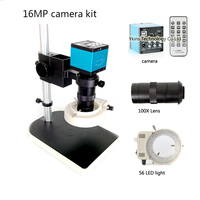 HDMI 16MP Microscope Camera PCB USB Output TF Card Recorder + 100X C Bayonet Lens + 56 LED Light + Bracket for Industrial Labs