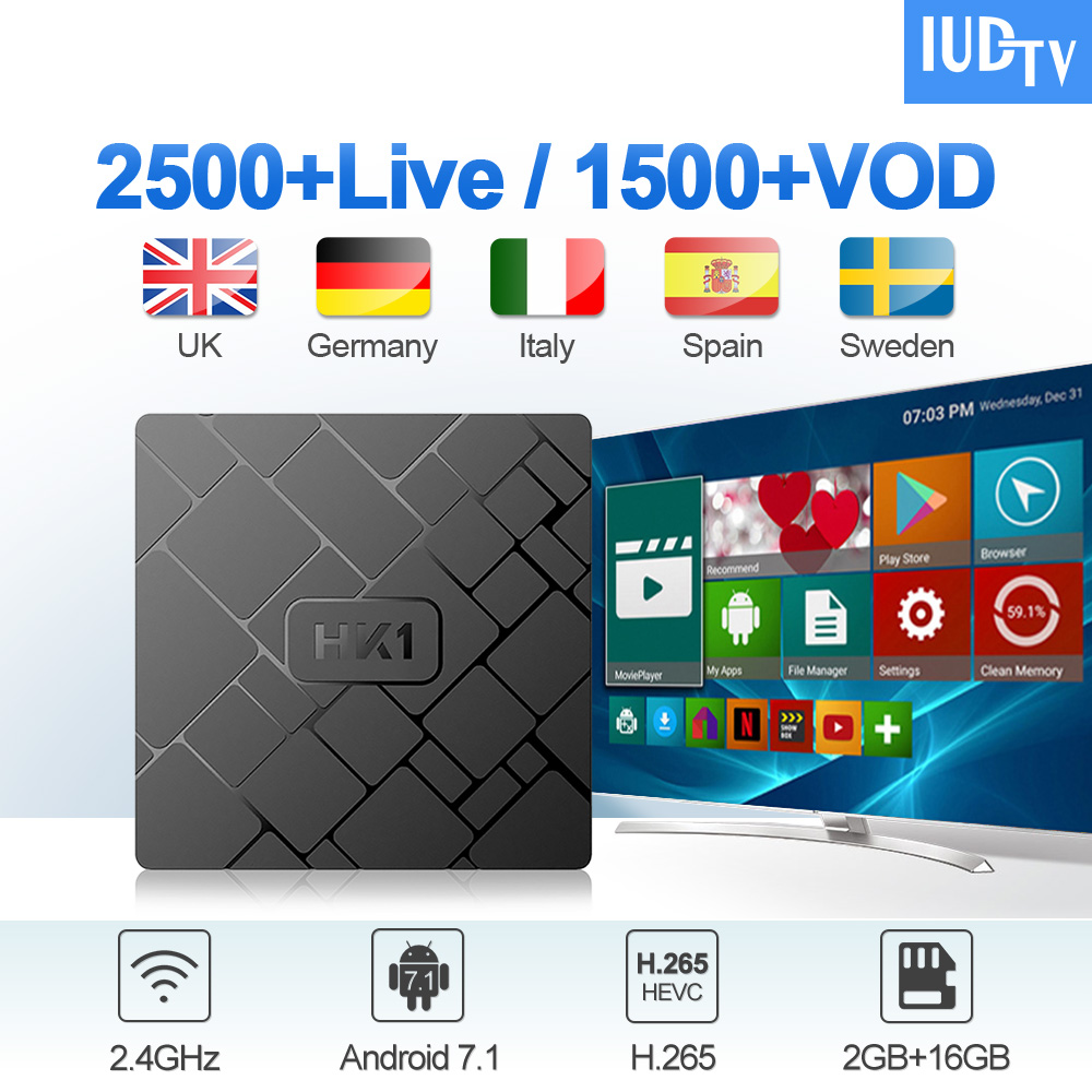 HK1 IUDTV IPTV Spain Italian Germany UK Sweden Android 7.1 2G+16G Greece EX_YU Italy German