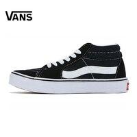 Original Vans Men Women Shoes Black And White Colour SK8 MID Skateboarding Shoes Sport Shoes