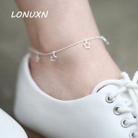 20.5cm+3.5cm High quality stars shape female Korean Anklet 925 silver retro Japan simple Korea female student summer jewelry