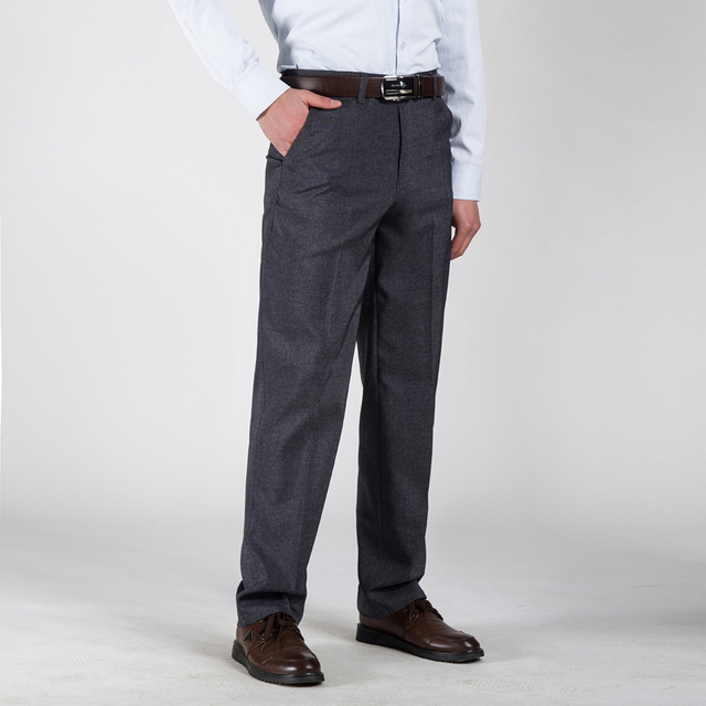 2016 Nueva Moda de Primavera y Verano Hombres de Negocios Informales Pantalones de Traje de Fácil Cuidado de Algodón Solid Vestido Largo Pantalones Pantalones