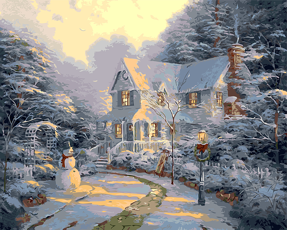 Zimní sněhová vila Vánoční obrázek Domácí dekorace bez rámu Obrazový obraz podle čísel Handwork Draw On Canvas Obývací pokoj Wall Art