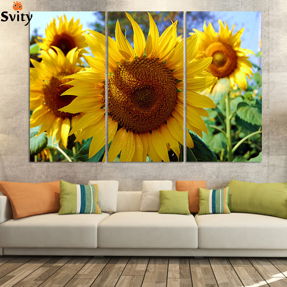 SVITY Nordic Canvas Painting Pictures Sunflower Flower Wall Art Print Picture For Living Room Restaurant Home Decor Poster H187