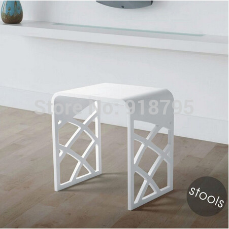 Solid Surface Stone Small Bathroom Step Stool Bench Chair Bathroom Steam Shower Stool 16 x 12 inch RS111