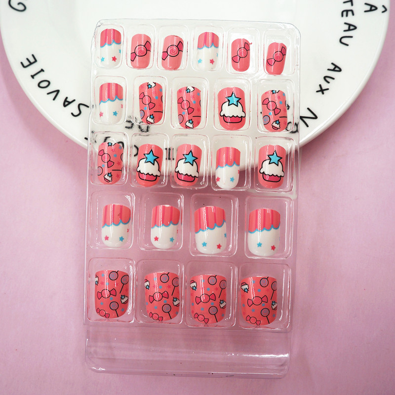 High Quality Children Candy False Nail Tips Cartoon 24pc Full Cover ...