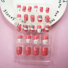 High Quality Children Candy False Nail Tips Cartoon 24pc Full Cover Kids Pink Fake Nails Art for Little Girls