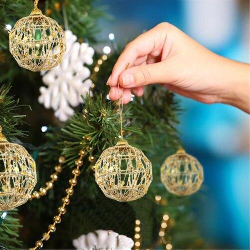 6Pcs/Set Hollow Christmas Tree Ball Gold Party Festival Ornaments Home Decor