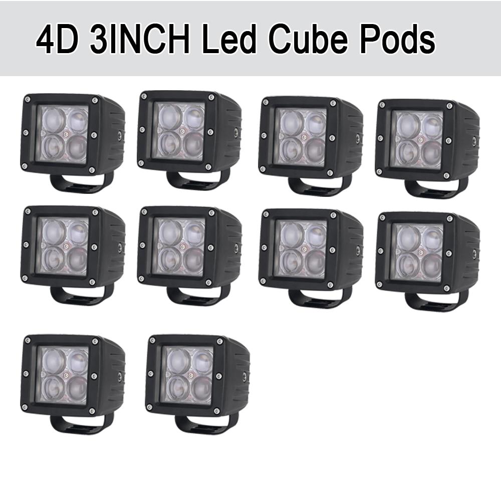 10 шт. 20 Вт светодио дный 4D светодиодный свет бар 3x3 Cube стручки квадратный пятно/луч потока Offroad дальнего света для внедорожник ATV 4x4 4WD Грузови...