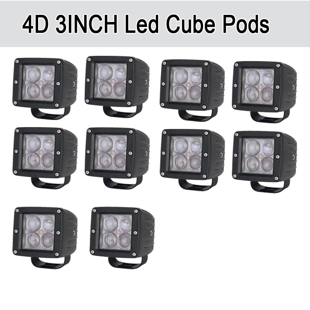 10 pcs 20 w 4D LED Travail Light Bar 3x3 Cube Gousses Carré Spot/Faisceau D'inondation offroad Conduite pour SUV ATV 4x4 4WD Camion Moto Bateau