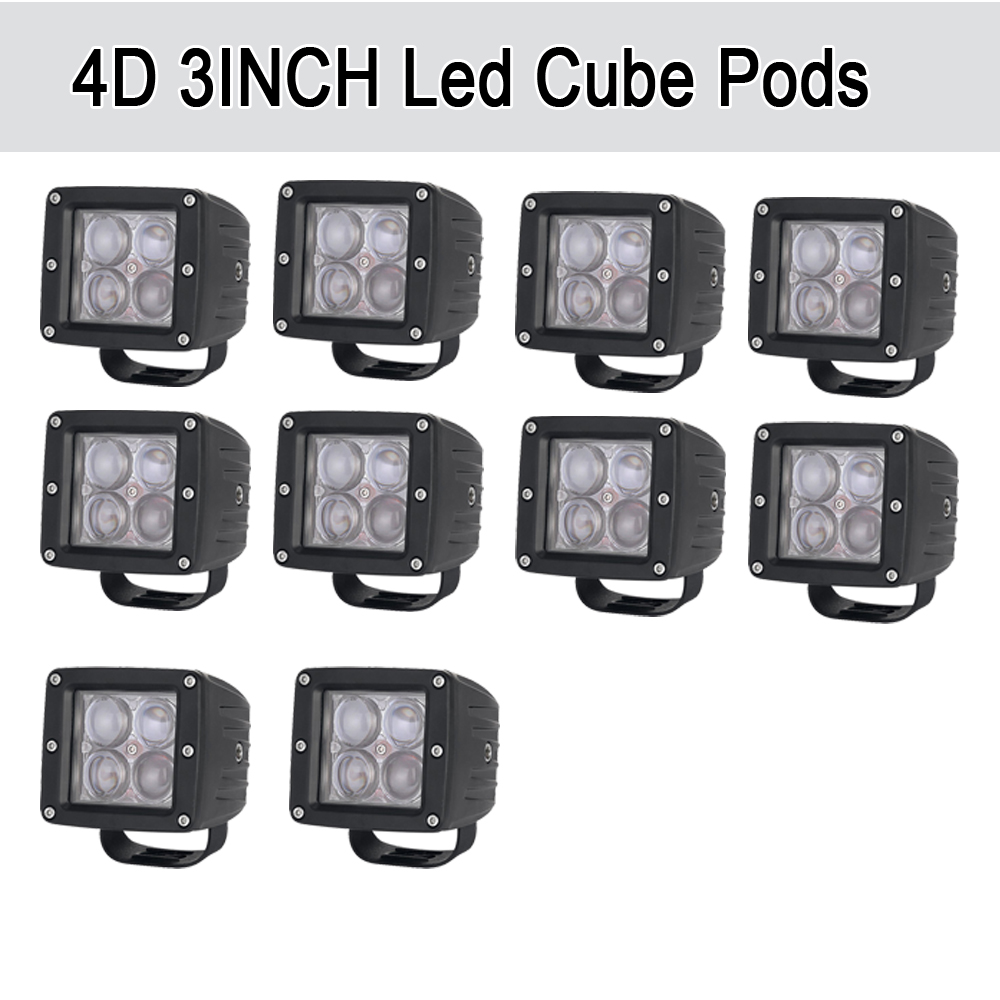 10PCS 20W 4D LED Work Light Bar 3x3 Cube Pods Square Spot/Flood Beam Offroad Driving for SUV ATV 4x4 4WD Truck Motorcycle Boat картофелевыкапыватель champion с3000