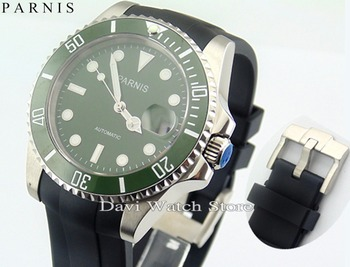 Parnis 44mm Black Dial Automatic Movement Men's steel Watch