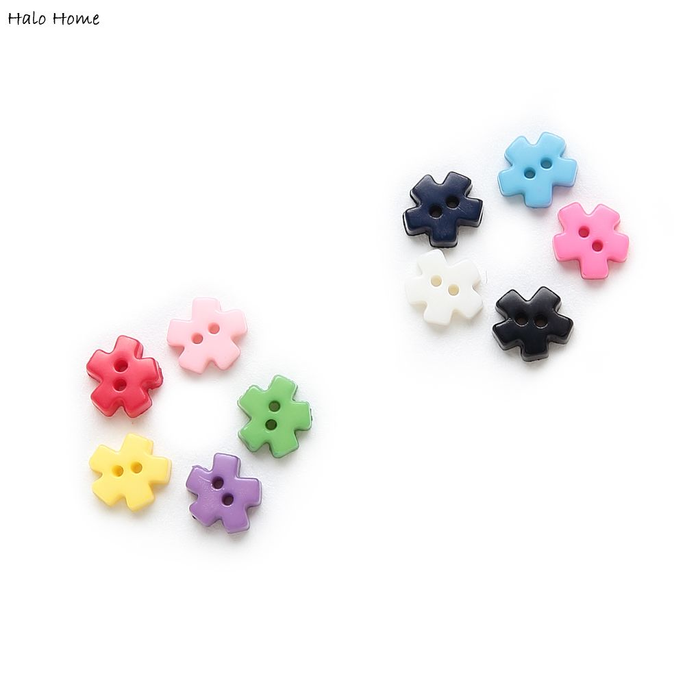 100pcs Multicolor 2 hole Snowflake Resin buttons Sewing Scrapbooking Decor 6mm