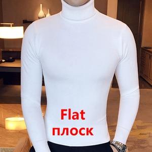 Image 5 - Winter High Neck Dicke Warme Pullover Männer Rollkragen Marke Herren Pullover Slim Fit Pullover Männer Strickwaren Männlichen Doppel kragen