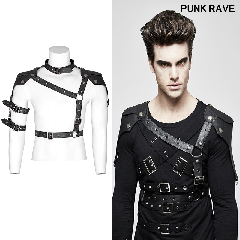 Fashion locomotive streetwear leather corns iron hoop slim Tees Tops belt Punk Military Uniform cool men belt PUNK RAVE S 236