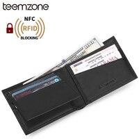 Teemzone RFID Antitheft Scanning Business Genuine Leather Men Card Wallet Passcase Hipster Purse Cash Receipt Holder