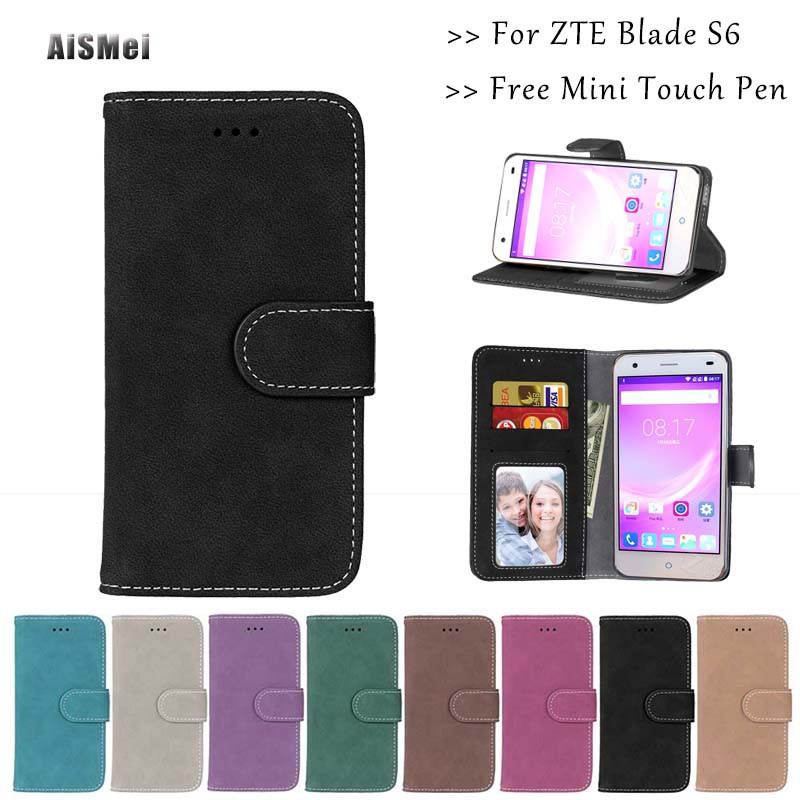 "AiSMei 5.0"" For ZTE Blade S6 Funda Luxury Wallet Leather Cases for Coque ZTE Blade S6 Case Cover Stand Holder Phone Bags"