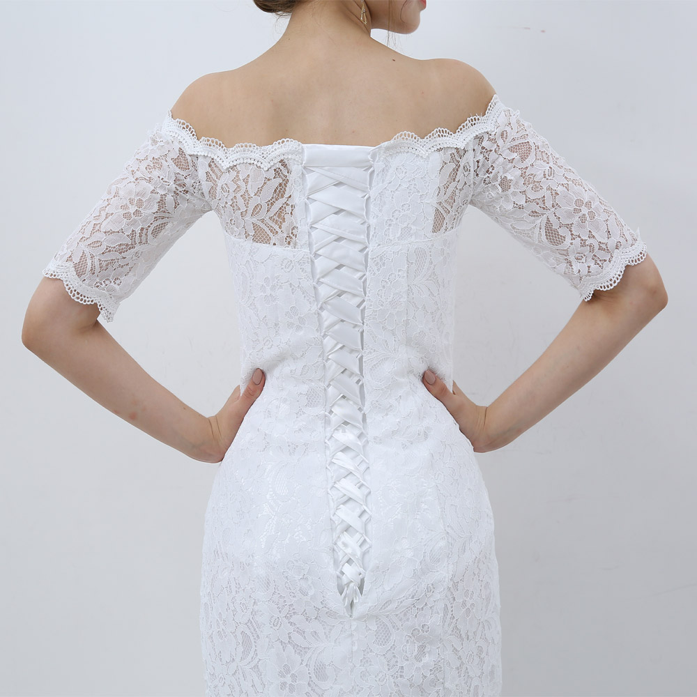 E jue shung white vintage lace cheap mermaid wedding for Wedding dresses with half sleeves