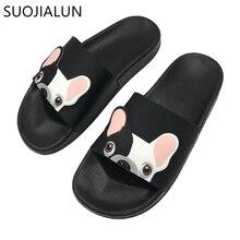 SUOJIALUN Women's Slippers 2018 Summer  Cute Dog Cartoon Women Slides Beach Shoes Women Flat Heels Flip Flops Slipper