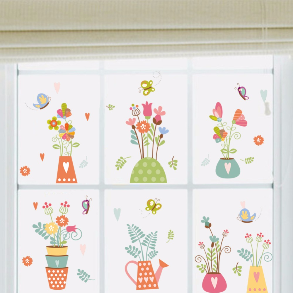 Настоящее Лидер продаж цветочный горшок оценка стены наклейки украшения дома для детской комнаты Diy самоклеящиеся съемный 2018 ИСКУССТВА нас...