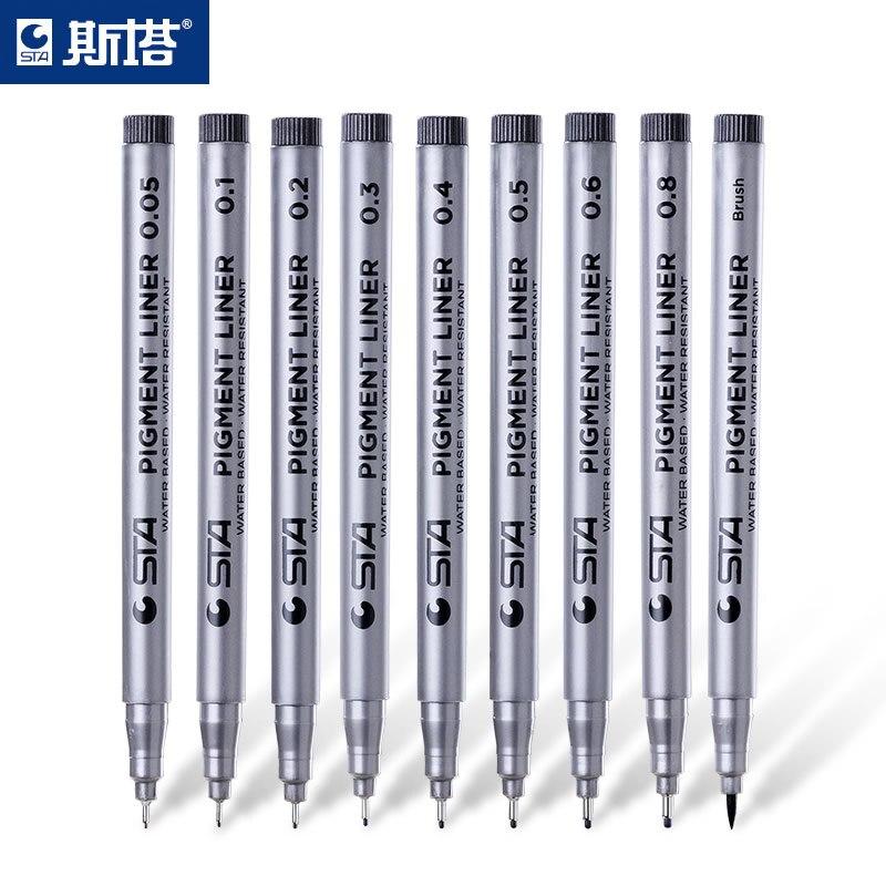 school supplies STA 8050 waterproof pIgment liner painted pens Soft head The beautiful fiber pen sketch pen needle pen