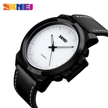 SKMEI Quartz Watches Men Simple Large Dial 30M Waterproof Silicone Strap Fashion Casual Gentleman Wristwatches 1208 high quality brand skmei new fashion casual silicone watches with japan quartz unisex wristwatches for men women gift wa3034