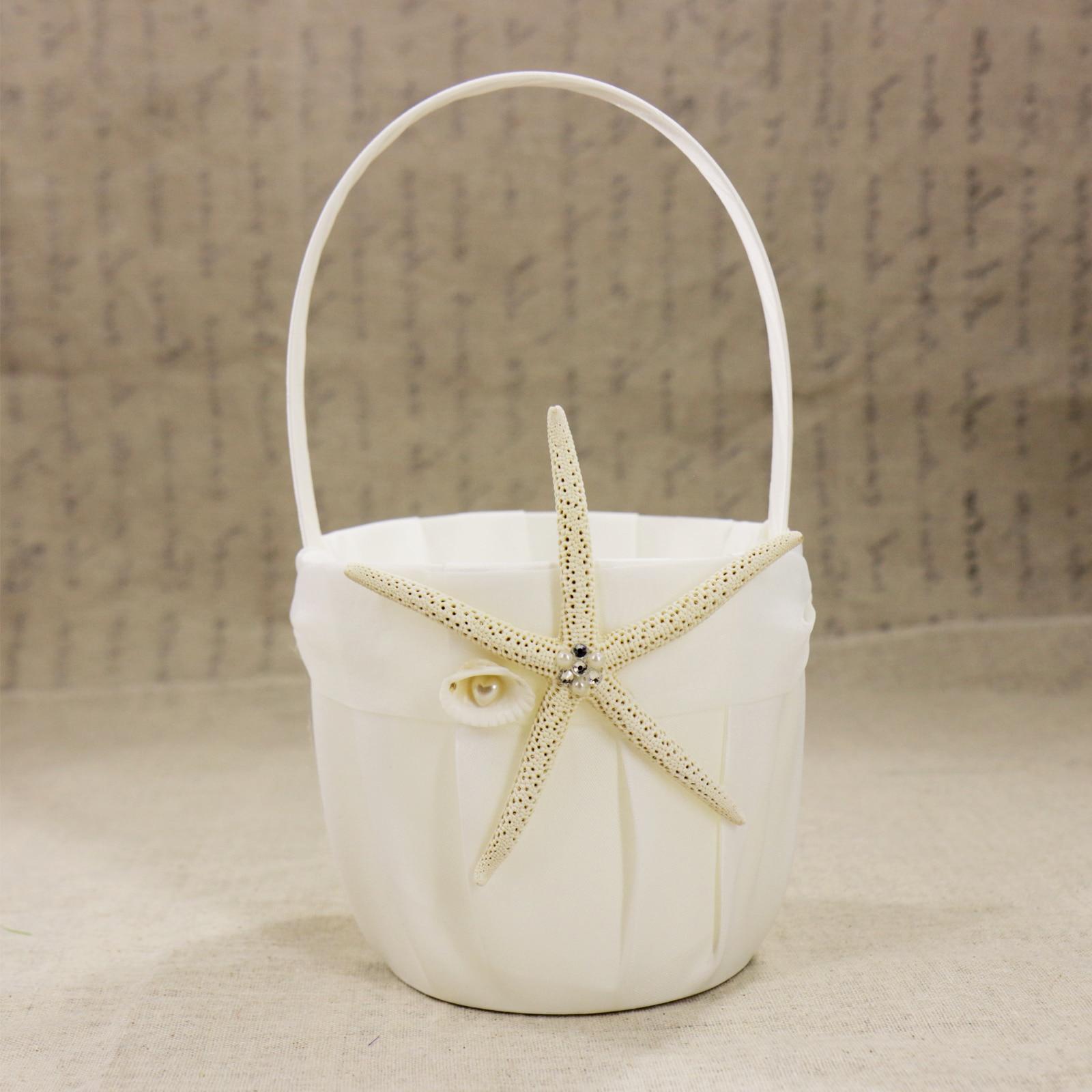 Nuptiale douche étoile de mer fleur panier blanc tache poire anneau oreiller de mariage fête décoration invité livre ensemble accessoires de mariée - 4