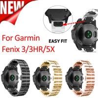 Fivstr Quick Release Metal Easy Fit Stainless Steel Metal Watch Wrist Bands Strap for Garmin Fenix 5X Fenix 3 Fenix 3 HR D2 MK1