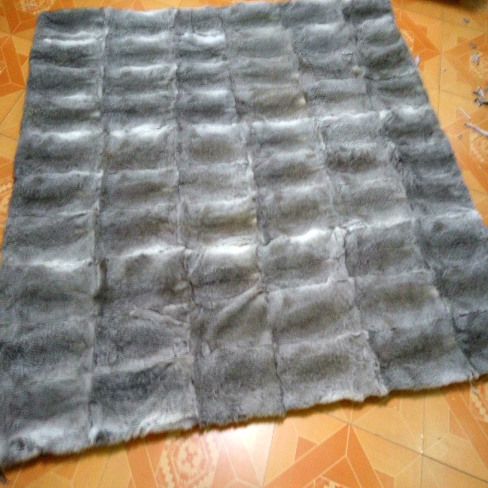 Genuine Rabbit Fur Blanket Floor Mat Real Fur Rug