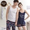 Das mulheres Pijamas de Verão 100% Algodão Amantes Sleepwear Pijama Dos Homens Bermudas Colete Mulheres Sling Casal Conjuntos de Pijama De salão