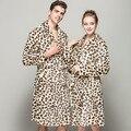 2016 Winter Flannel Robe Women's long-sleeve Sexy Lepoard Bathrobe For Women Men Couples Home Casual Sleepwear