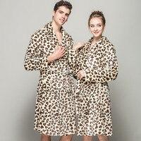 2018 Winter Flannel Robe Women's long sleeve Sexy Lepoard Bathrobe For Women Men Couples Home Casual Sleepwear