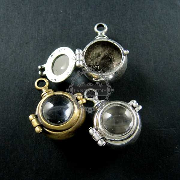 22 มม.สไตล์ antiqued silver,bronze แก้ว steam punk ball vial wish จี้ charm 1800114