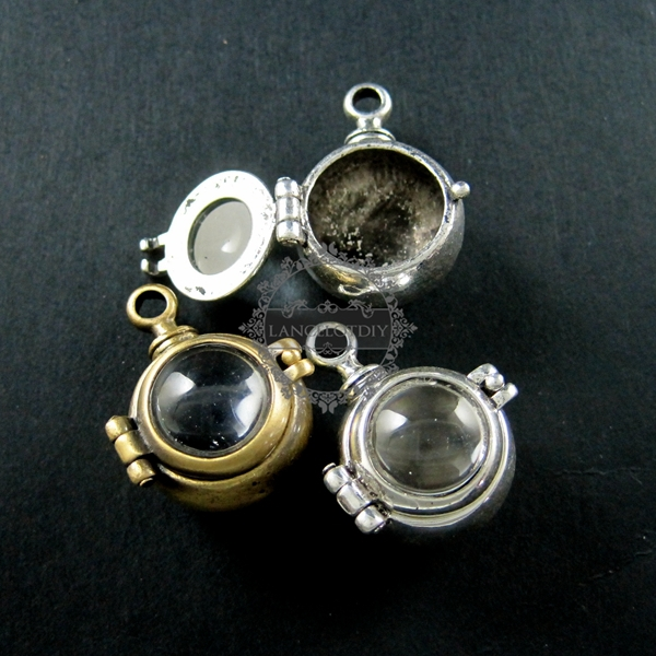 Charm Glass-Cover Wish-Pendant Vial Bronze Vintage-Style Antiqued Silver 22mm Punk Steam-Punk-Ball title=