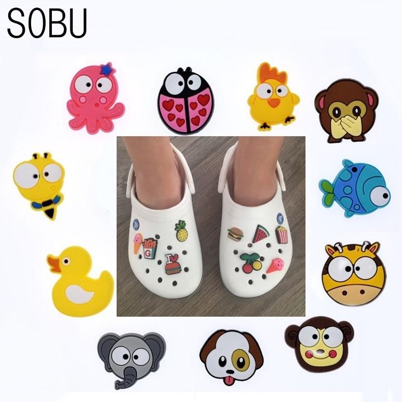 1pcs Cartoon Animals Shoe Charms Shoe Accessories Shoe Decoration For Croc JIBZ/ Wristbands Kids Party Xmas Gift D034