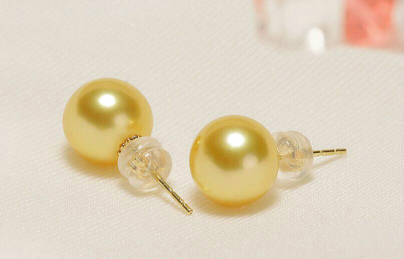 charming pair of 10-11mm south sea round gold pearl stud earrings 14kcharming pair of 10-11mm south sea round gold pearl stud earrings 14k
