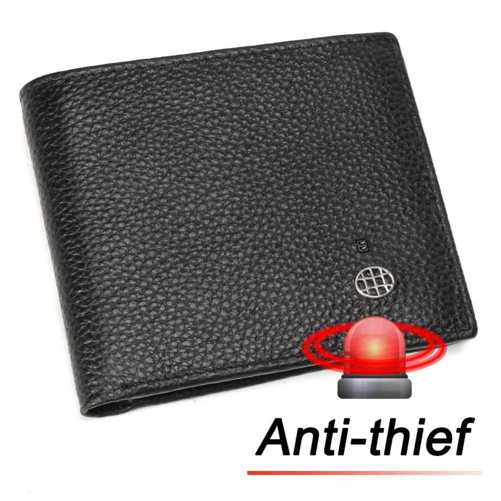 Modoker 100% Genuine Leather Smart Wallet Anti-Thief Card Holders Bifold for Men Alarm Beep