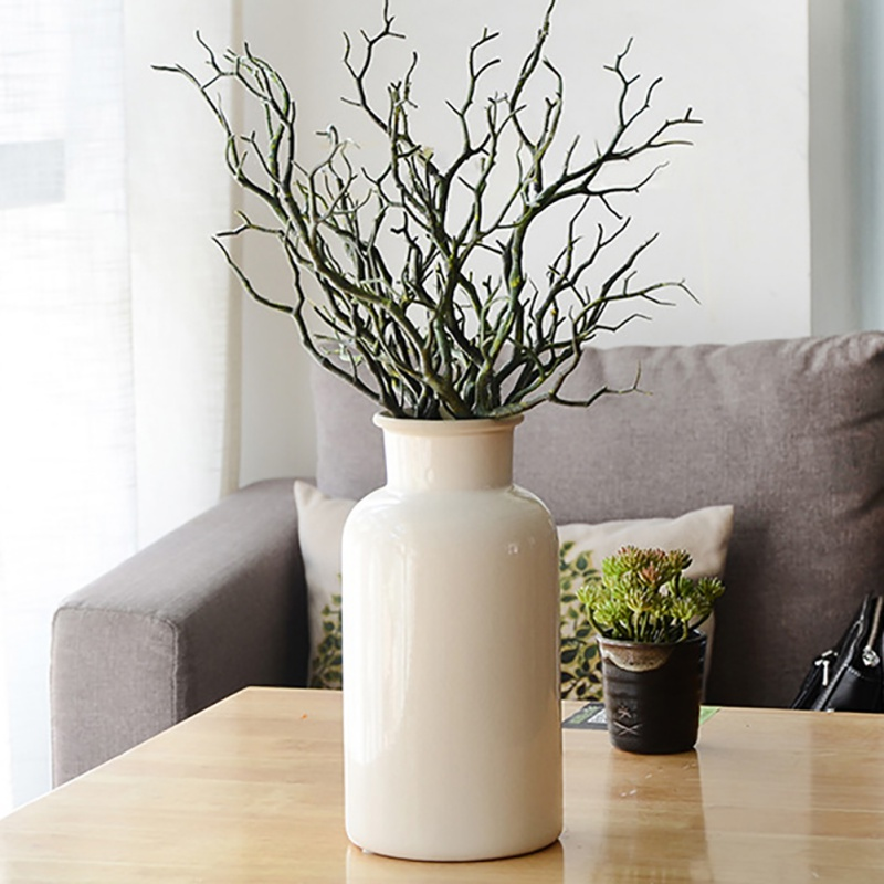 35cm Manzanita Dry Artificial Fake Foliage Plant Tree Branch Wedding Home Church Office Furniture Green White 3pcs/set