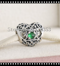 Signature May Heart Charm Beads 925 Sterling Silver Openwork Green Crystal Birthstone Bead Diy Winter Brand Bracelets Jewelry