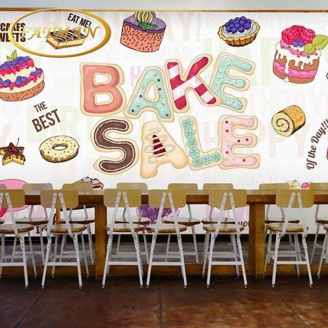 Photo Papier Peint 3d Stereo Gateau Decoration Du Papier Peint Cafe