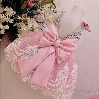 Cute Pink Puffy Tulle White Lace Baby Girl First Birthday Party Dress with Bow Flower Girl Dresses for Wedding Girls Party Gown