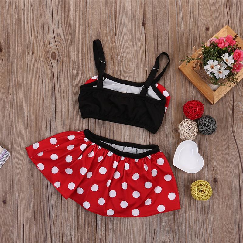 2019 летний детский купальный костюм с красным бантом для маленьких девочек, купальный костюм в горошек, комплект бикини, танкини, купальник 16