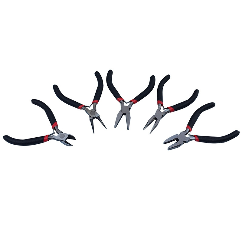 5pcs 4 5inch diy mini pliers long  round  flat nose combination bent set craft diy jewelry