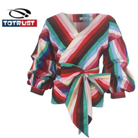 TOTRUST Vintage Stripe Womens Plus Size Fashions Lantern Sleeve Tops 2018 New Autumn Front Bow V Neck Blouse Shirt Blusa Chemise