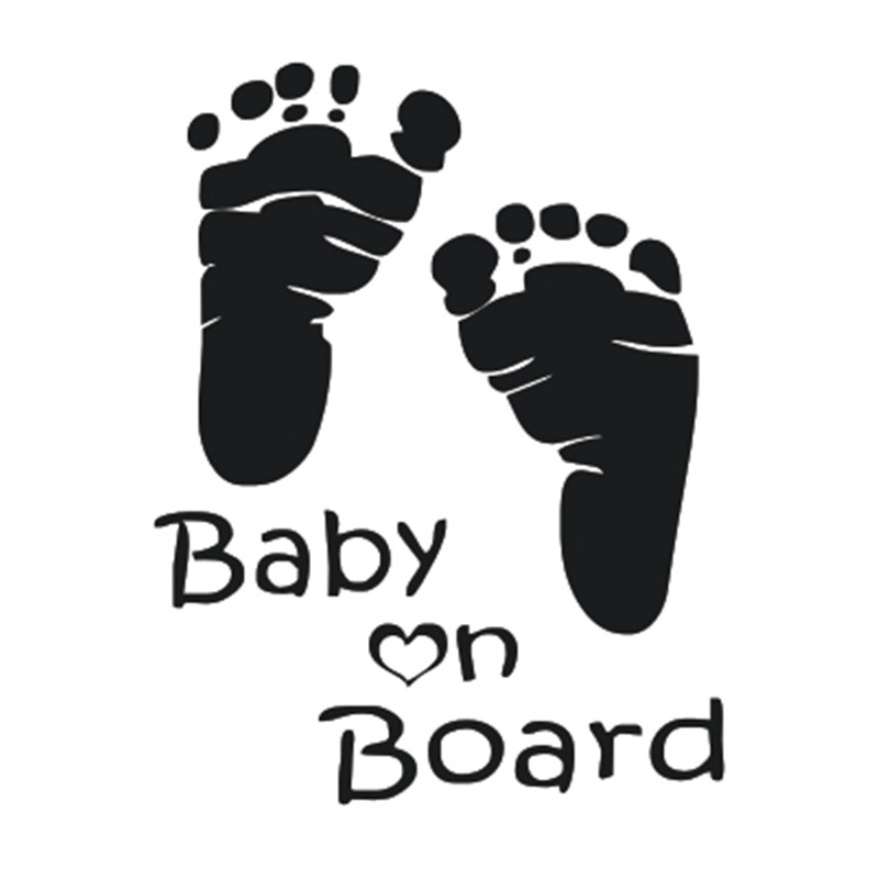 Footprint Baby on Board Waterproof Window Car Styling Vinyl Adhesive Auto Decals Baby On Board Sticker for BMW focus