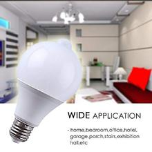 LED lamp PIR Infrared Motion/Sound+Light Sensor Control E27 7w 85-265V automatic Smart Sensor White Lampada LED Bulb light
