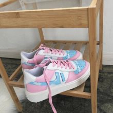 Женская Вулканизированная обувь; милые розовые кроссовки на плоской подошве для молодых девушек; дышащая женская обувь на шнуровке; сезон весна-осень; повседневная обувь
